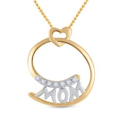 1/20 CTW Round Diamond Mom Mother Pendant 14kt Yellow Gold - REF-8K4R