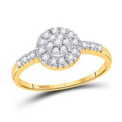 1/5 CTW Round Diamond Cluster Ring 10kt Yellow Gold - REF-11M9A