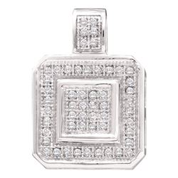 1/6 CTW Round Diamond Square Pendant 10kt White Gold - REF-14A4N