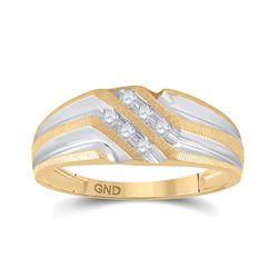1/8 CTW Mens Round Diamond Wedding Ring 10kt Two-tone Gold - REF-15N5Y