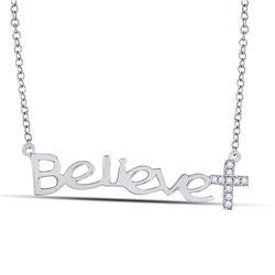 1/20 CTW Round Diamond Believe Cross Necklace 10kt White Gold - REF-10K8R