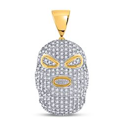 5/8 CTW Mens Round Diamond Hood Mask Charm Pendant 10kt Yellow Gold - REF-35X9T