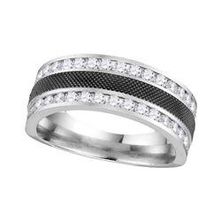 1 CTW Mens Round Diamond Double Row Wedding Ring 14kt White Gold - REF-117K3R