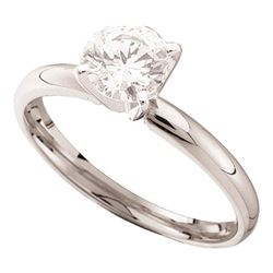 3/8 CTW Round Diamond Solitaire Bridal Wedding Engagement Ring 14kt White Gold - REF-47M9A