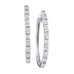 1/20 CTW Round Diamond Single Row Hoop Earrings 10kt White Gold - REF-21F5M