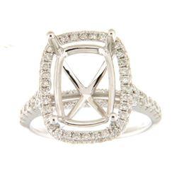 0.85 CTW Diamond Semi Mount Ring 14K White Gold - REF-84N7Y