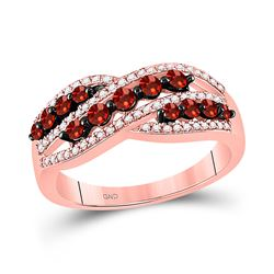 5/8 CTW Round Red Color Enhanced Diamond Crossover Fashion Ring 10kt Rose Gold - REF-30T3K