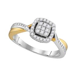1/5 CTW Round Diamond Square Cluster Twist Ring 10kt Two-tone Gold - REF-24W3F