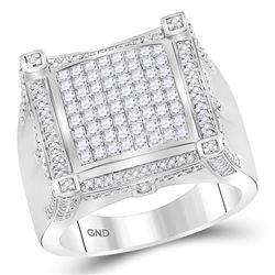 2 CTW Mens Princess Diamond Square Cluster Ring 10kt White Gold - REF-149Y9X