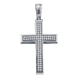 1/4 CTW Round Diamond Cross Pendant 10kt White Gold - REF-24N3Y
