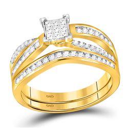 1/2 CTW Princess Diamond Bridal Wedding Engagement Ring 14kt Yellow Gold - REF-47Y9X