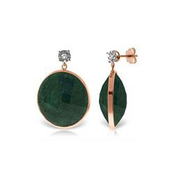Genuine 46.06 ctw Green Sapphire Corundum & Diamond Earrings 14KT Rose Gold - REF-68T8A