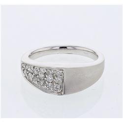 0.37 CTW Diamond Ring 18K White Gold - REF-67F5N