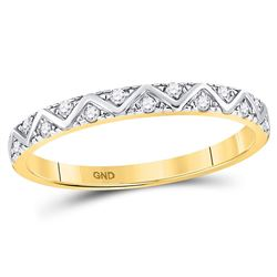 1/10 CTW Round Diamond Zigzag Stackable Ring 10kt Yellow Gold - REF-14Y4X