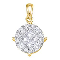 2 CTW Princess Round Diamond Cluster Pendant 14kt Yellow Gold - REF-222W3F