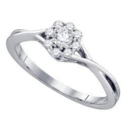 1/4 CTW Round Diamond Flower Cluster Promise Bridal Ring 14kt White Gold - REF-27W5F