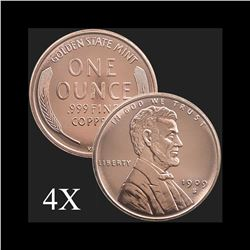 1 oz Lincoln Wheat Cent .999 Fine Copper Bullion Round