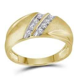1/4 CTW Mens Round Diamond 2-Row Wedding Ring 14kt Yellow Gold - REF-30K3R