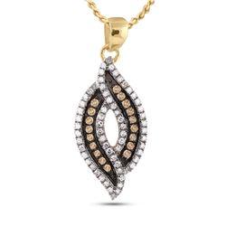 1/3 CTW Round Brown Diamond Fashion Pendant 10kt Yellow Gold - REF-16Y8X