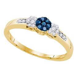 1/5 CTW Round Blue Color Enhanced Diamond Cluster Ring 10kt Yellow Gold - REF-14F4M