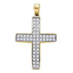 1/2 CTW Round Diamond Cross Pendant 10kt Yellow Gold - REF-35N9Y