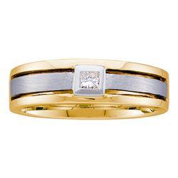 1/6 CTW Mens Princess Diamond Wedding Ring 14kt Two-tone Gold - REF-54Y3X