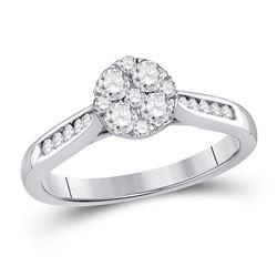 1/2 CTW Round Diamond Fashion Cluster Ring 14kt White Gold - REF-54W3F