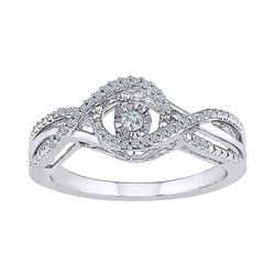 1/6 CTW Round Diamond Moving Twinkle Solitaire Ring 10kt White Gold - REF-24T3K