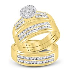 7/8 CTW His & Hers Round Diamond Cluster Matching Bridal Wedding Ring 14kt Yellow Gold - REF-87M5A