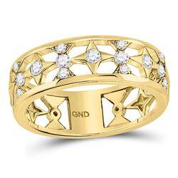 1/3 CTW Round Diamond Studded Star Ring 14kt Yellow Gold - REF-35W9F