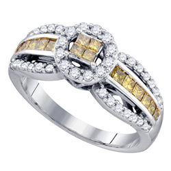 3/4 CTW Princess Yellow Color Enhanced Diamond Cluster Ring 14kt White Gold - REF-50M4A