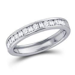 1/4 CTW Round Baguette Diamond Channel-set Wedding Ring 14kt White Gold - REF-24F3M