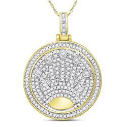 7/8 CTW Mens Round Diamond King Crown Charm Pendant 10kt Yellow Gold - REF-57K5R