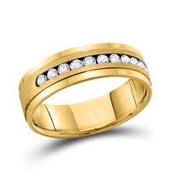 1/2 CTW Mens Round Channel-set Diamond Single Row Wedding Ring 14kt Yellow Gold - REF-81N3Y
