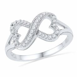 1/6 CTW Round Diamond Infinity Heart Ring 10kt White Gold - REF-15A5N