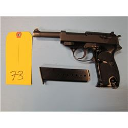 restricted-- Walther Manurhin P1 semi automatic double action 9 mm 8 shot two clips barrel length of