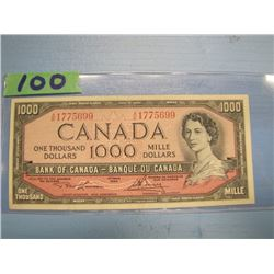 1954 Canadian bank note $1,000 dollar value Lawson and Bouey signatures