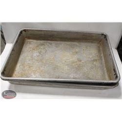 "LOT OF 2 ALUMINUM ROASTING PANS 25""X16.5""X3.5"""