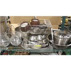 SHELF CONTENTS INCL: VARIOUS STAINLESS STEEL