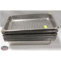 LOT OF 11 FULL SIZE S/S PERFORATED STEAM PANS