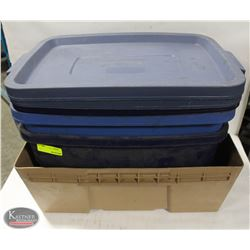 LOT OF 2 RUBBERMAID 14 GALLON TOTES W/ LIDS &