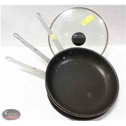 LOT OF 3 COATED ALUMINUM FRYING PANS W/ 1 LID