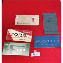 Lot of 5 Ford Owner's Manuals