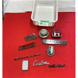 Nice Lot of Car Emblems and a Grey Dash Dort Grease Cap Dust Cover