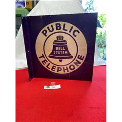 1950's Bell System Public Telephone Flanged Double Sided SIgn
