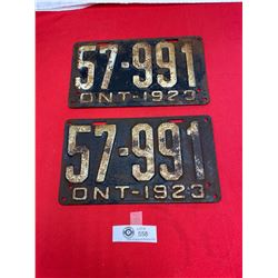 Pair of 1923 Ontario License Plates