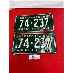 Pair of 1956 Saskatchewan License Plates
