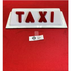 Vintage Taxi Cab Topper Sign with Embossed Lettering. All Original