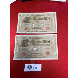 Lot of 2 In Sequence 1910 German 1000 Reichsbanfnote In Great Shape. Almost Uncirculated