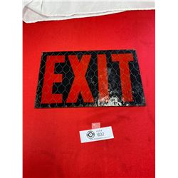 Chicken Wire and Glass Exit Sign
